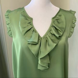 Violet & Claire green ruffle collar sleeveless top
